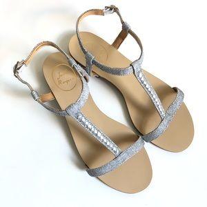 Jack Rogers Cheney silver sandal/ 7